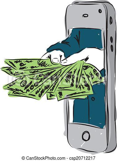 dollars, smartphone - csp20712217