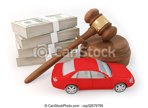 dollars stack and auction with car - csp32679795