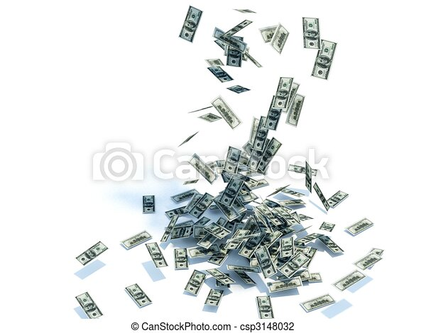 Dollars tip from the heaven isolated on white - csp3148032