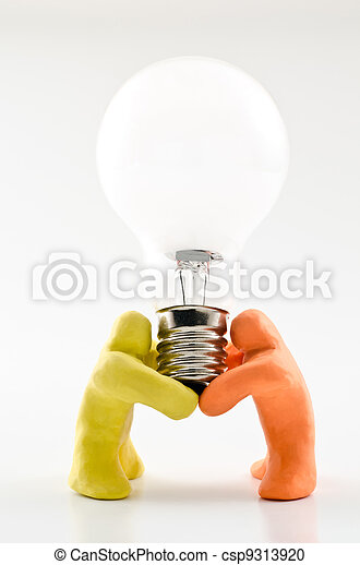 Dolls supporting light bulb - csp9313920