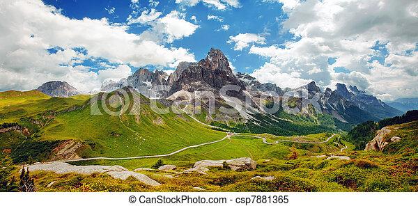 dolomiti, bello, -, panoramico, italiano, vista - csp7881365