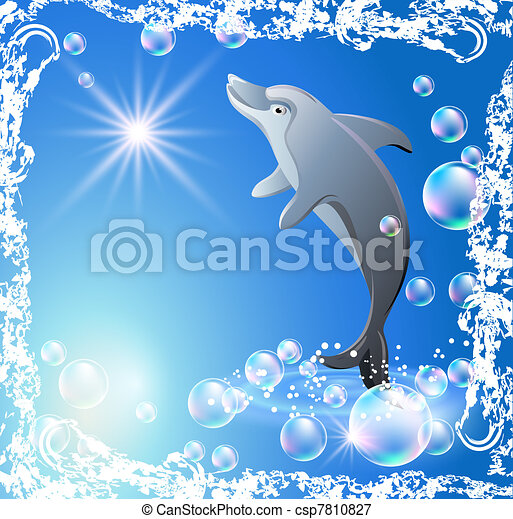 Dolphin and bubbles. Dolphin in the bubbles in grunge frame vectors ...