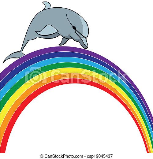 dolphin and rainbow - csp19045437