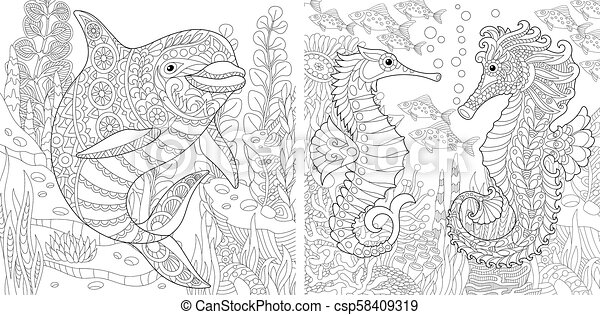 Realistic Seahorse Coloring Pages. horses coloring and coloring ... | 241x450