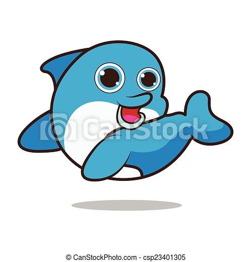 Dolphin cute cartoon - csp23401305