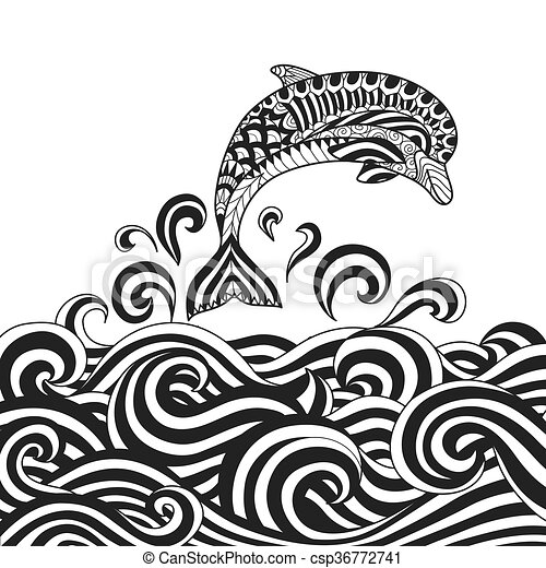 Dolphin Zendoodle Design Of Dolphin Jumping In To The Ocean For