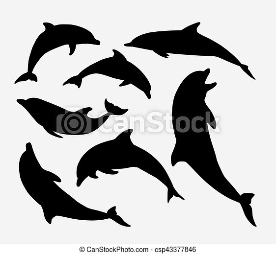 Dolphin Fish Animal Silhouette Good Use For Symbol Mascot Web