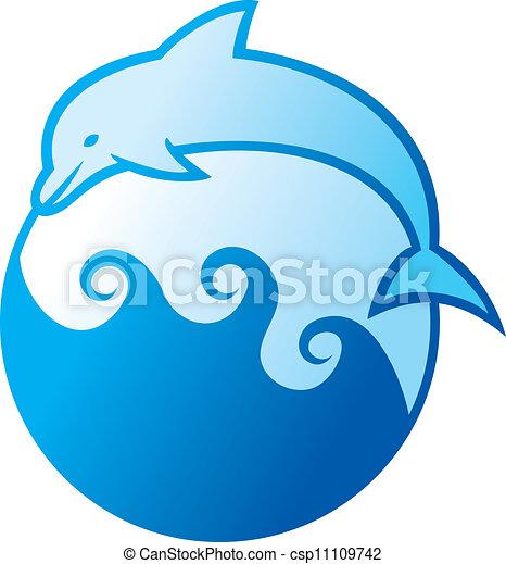 dolphin jumping symbol - csp11109742