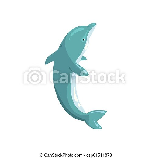 Dolphin sea animal jumping vector Illustration on a white background - csp61511873