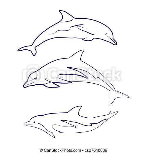 dolphin silhouettes drawn