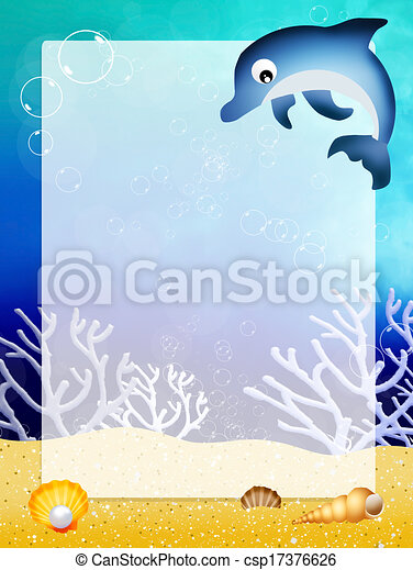 Illustration of dolphin with frame.