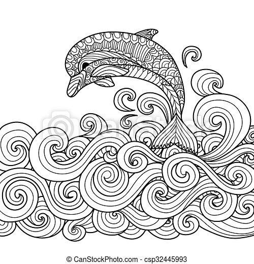 dolphin zentangle hand drawn zentangle dolphin with scrolling sea
