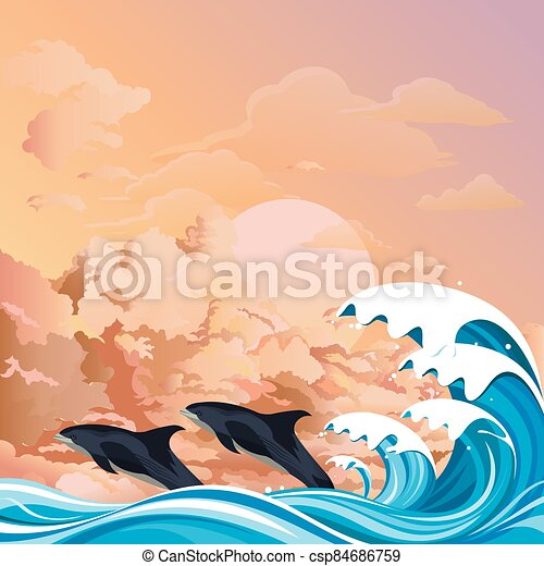 Dolphins surfing the waves at dawn - csp84686759