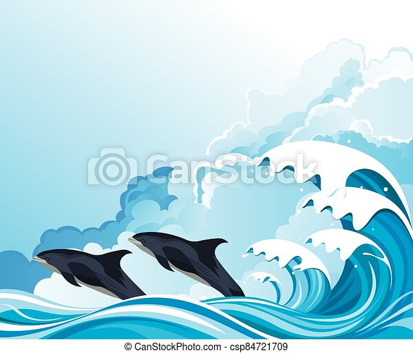 Dolphins surfing the waves - csp84721709