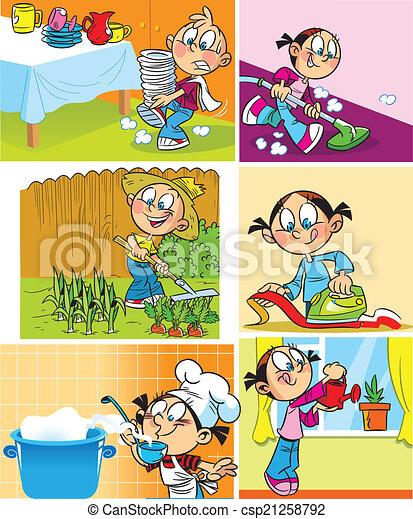 Empleo doméstico de niños - csp21258792