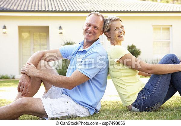 domů, dvojice, sen, mimo, sedění - csp7493056