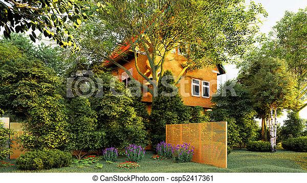 dom, 3d, przedstawienie, ogrodowy angielski - csp52417361
