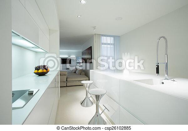 dom, biały, rówieśnik, kuchnia - csp26102885