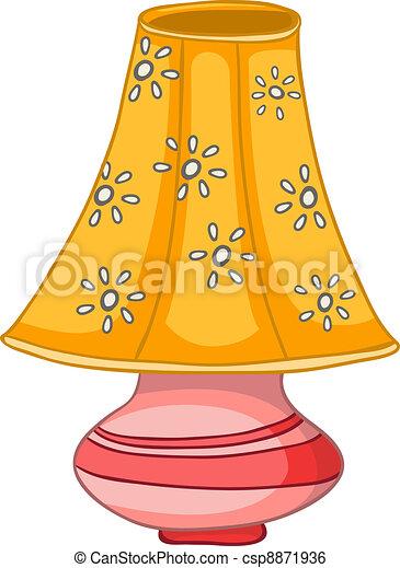 Dom, lampa, rysunek. Odizolowany, tło., lampa, vector., dom, biały, rysunek.