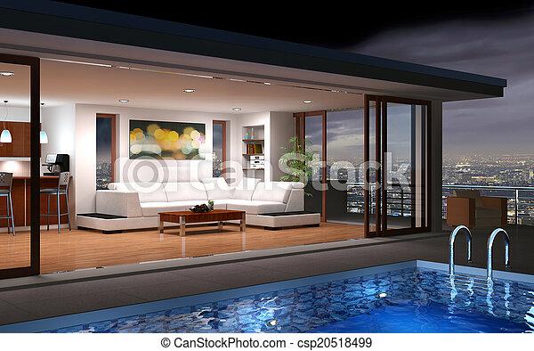 dom, nowoczesny, kałuża - csp20518499