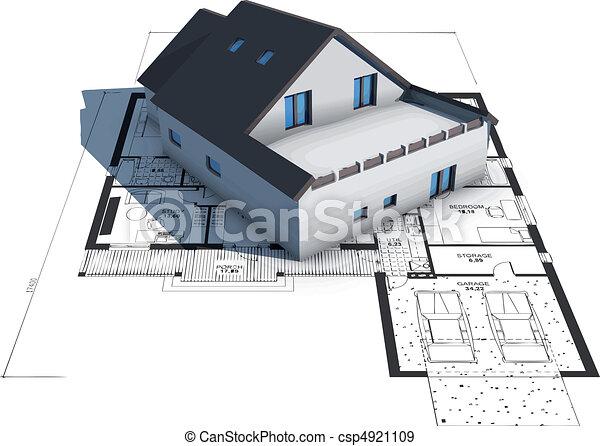 dom, odbitki światłodrukowy, wzór, górny, architektura - csp4921109