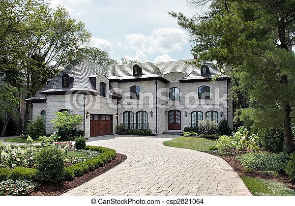 dom, okólnik, podjazd, luksus - csp2821064