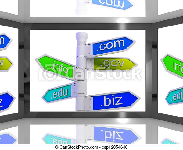 Domains On Screen Showing Internet Domains - csp12054646