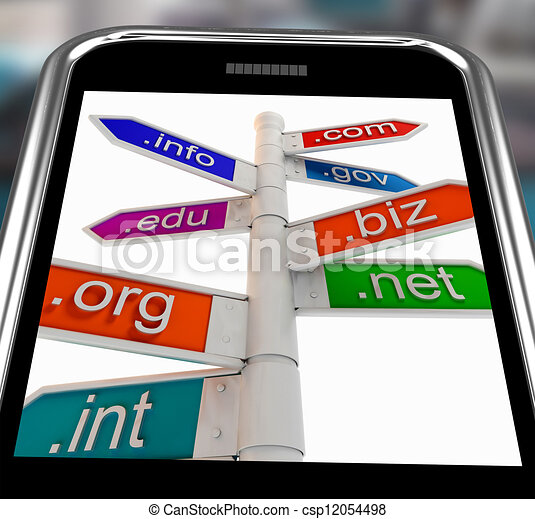 Domains On Smartphone Shows Internet Websites - csp12054498