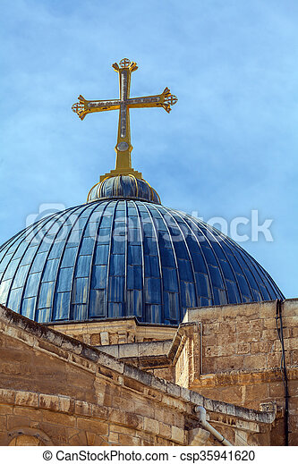 Dome of Holy Sepulchre Cathedral, Jerusalem - csp35941620