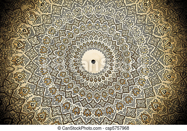 Dome of the mosque, oriental ornaments from Samarkand, Uzbekistan - csp5757968
