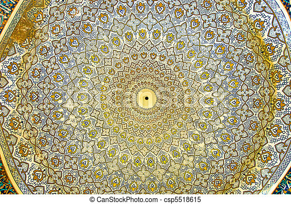 Dome of the mosque, oriental ornaments from Isfahan, Iran - csp5518615