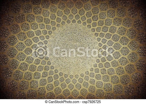 Dome of the mosque, oriental ornaments from Isfahan, Iran - csp7926725