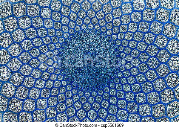 Dome of the mosque, oriental ornaments from Isfahan, Iran - csp5561669
