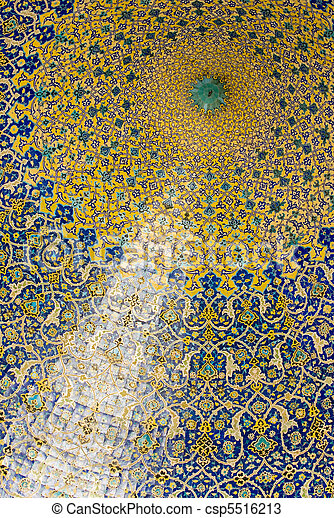 Dome of the mosque, oriental ornaments from Isfahan, Iran - csp5516213