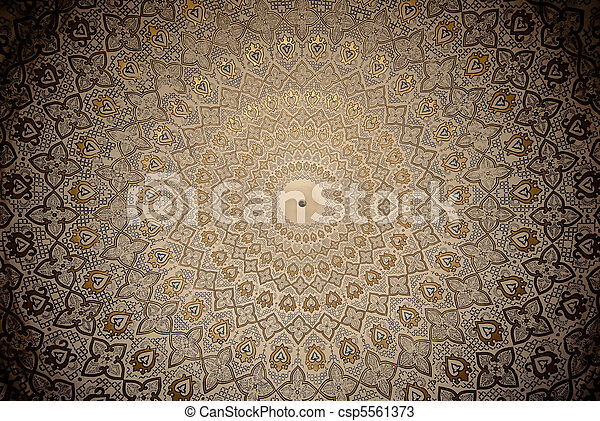 Dome of the mosque, oriental ornaments from Samarkand, Uzbekistan - csp5561373