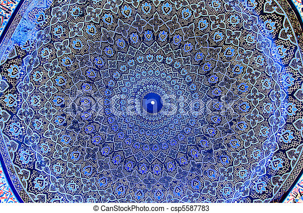 Dome of the mosque, oriental ornaments from Isfahan, Iran - csp5587783
