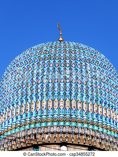 Dome of the St. Petersburg Cathedral Mosque against blue sky - csp34855272