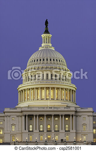 Dome of US Capitol at Dusk - csp2581001