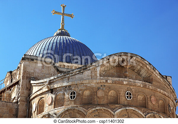 Dome on the Church of the Holy Sepulchre in Jerusalem, Israel - csp11401302