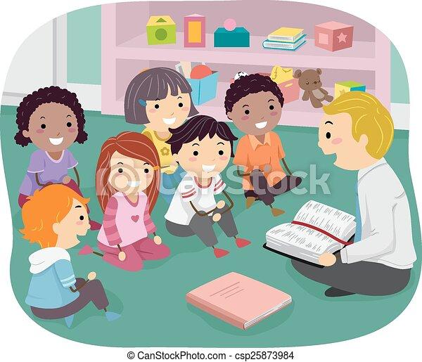 domenica, bambini, stickman, scuola - csp25873984
