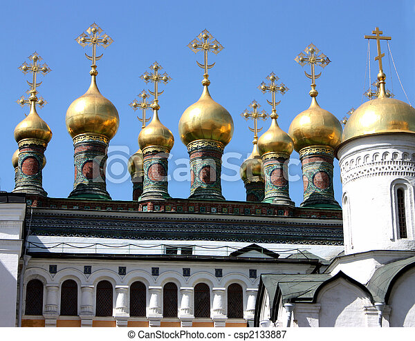 Domes of the Kremlins Churches and Cathedrals. - csp2133887