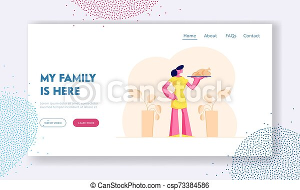 Domestic Food Website Landing Page Young Woman Housewife Holding Plate With Roasted Turkey Or Chicken Meeting Family With Canstock