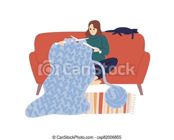 Domestic woman knit hold knitting needles and clew of thick yarn vector flat illustration. Creative female enjoying handmade hobby sit on comfy sofa isolated on white. Joyful lady use merino wool - csp82006855