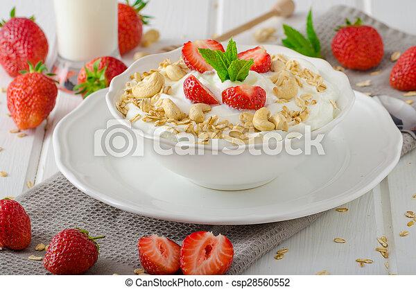 Domestic yogurt with strawberries - csp28560552