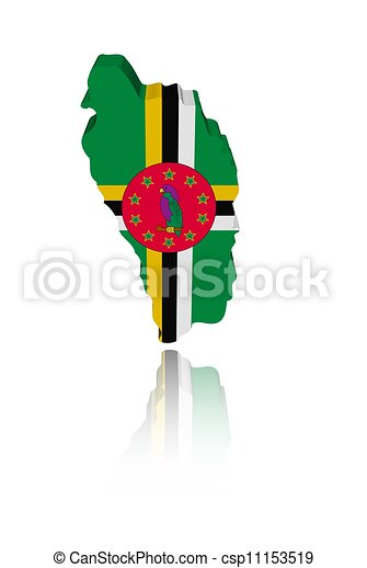 Dominica map flag with reflection illustration - csp11153519