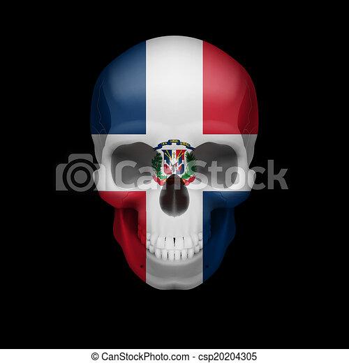 Dominican Republic flag skull - csp20204305