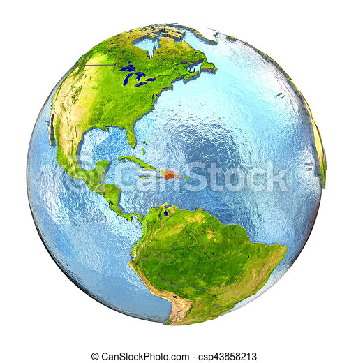Full Earth Map.Dominican Republic In Red On Full Earth Dominican Republic