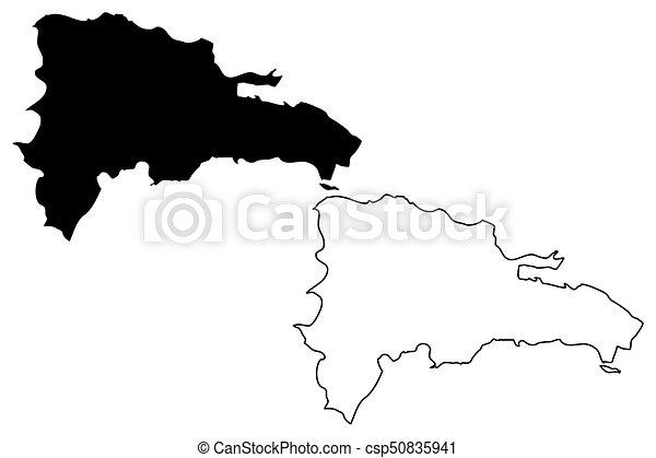 EPS Vector Of Dominican Republic Map Vector Illustration Scribble - Dominican republic map vector
