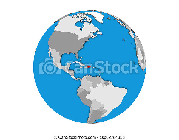 Dominican Republic on 3D globe isolated - csp62784358