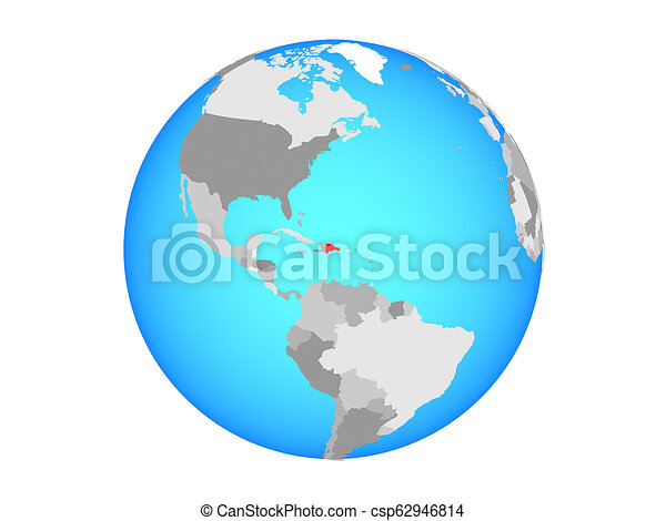 Dominican Republic on globe isolated - csp62946814
